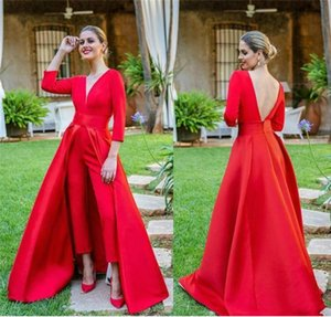2021 Red Prom Dresses Jumpsuit Satin 3 4 Long Sleeves Overskirt V Neck Custom Made Plus Size Evening Party Gown robe