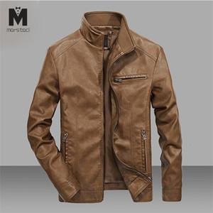 Marstaci Erkekler Motosiklet Deri Ceket 4XL 5XL Man Pu Streetwear Coat Mans Bombacı Suits WINDBREAKER online alışveriş tedarikçisi X1025
