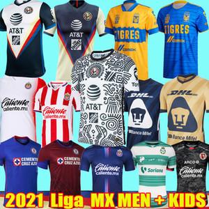 20 21 Liga MX Club America третьи футбольные майки 2021 Cruz Azul Chivas Tijuana UNAM Tigres Santos Laguna Футбольные рубашки детский комплект Униформа