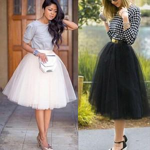 2020 Newest Hot Chiffon Plus Size Female Tutu Tulle Skirts Puff Women Chiffon Tulle Skirt White Black High Waist