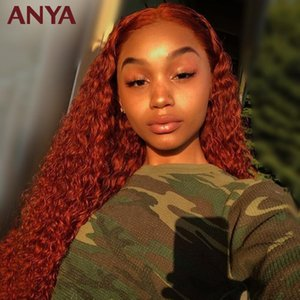ANYA Curly Ginger Orange13*6Transparent Lace Front Pre Plucked Colored WIg Malasia Virgin Human Hair Wigs For Black Women