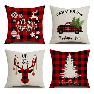 Natale federa tela di canapa 45 * 45cm ELK Stampato individuale pacchetto di copertura del cuscino di Natale retrò plaid federa 12styles RRA3701
