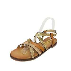 European and American fashion non-slip flat flat knit sandals with buckle strap