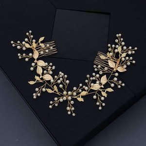Bridal Photography Hair Accessories with Comb Pealrs Gold Metal Laves Wedding Jewelry adornos para el cabello H446