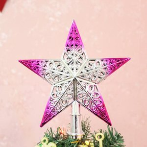 Christmas Tree Cute Colorful Top Sparkle Hang Xmas Decoration Ornament Treetop Topper Dimensional hollow five-pointed stars