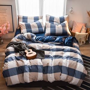 Rejilla de la manera sencilla Imprimir lecho para los hombres Boy súper blando de doble cara Tela duvet cover set Ropa de cama Textiles para el hogar zWZ2 #