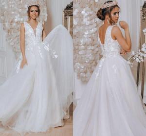 Plus Size A Line Wedding Dresses Sexy V Neck Appliqued Lace Boho Garden Bridal Gowns Corset Back Sweep Train Vestidos De Novia L196