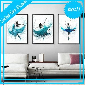 Modern Ballerina Abstract Canvas Paintings Art Prints Turquoise Rain Dancer Posters Wall Woonkamer Nordic Home Decor Photo