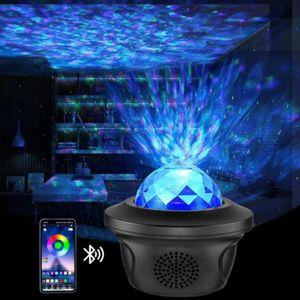 LED Yıldız Gece Lambası Müzik Yıldızlı Su Dalga Renkli Yıldızlı Gökyüzü Projektör Blueteeth Otomatik Kapalı Zamanlayıcı Projektör Işık Dekor