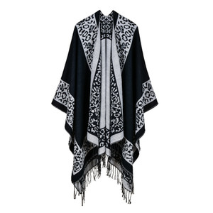 Women's classic border leopard print split thickness warm popular imitation cashmere travel cape