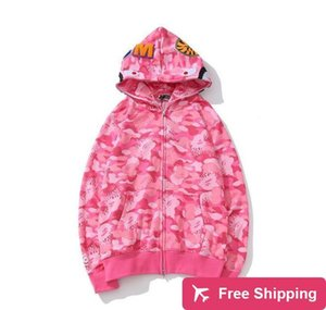2020 원숭이 신규 브랜드 연인 코튼 캐주얼 대형 느슨한 핑크 블루 카모 바 PE 인쇄 카디건 스웨터 후드 코트