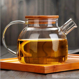 1000ml 1800ml Large Capacity Heat Resistant Glass Tea Infuser Pot With Wood Cover Kung Fu Flower Tea Puer Kettle Coffee Cup Office Teapot