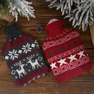 Hot Water Bag Bottle Cartoon Knitted Cover Large Size Cloth Cold-proof Cover Home Christmas Patterns Gifts 32*20cm JK2011XB