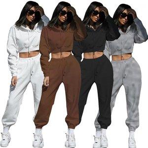 Piece Sets Hooded Long Sleeve Sweatshirt Drawstring Sport Pants Ladies 2Pcs Clothing Suit Women Solid Two