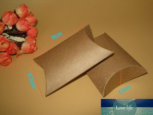 Wholesale-100pcs lot kraft pillow box 9x6.5x2.4cm Jewelry kraft Paper Gift Packaging  Ring Earing boxes wedding favor party candy gift box