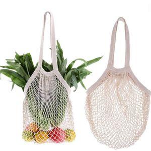 10pcs Shopping Bags Handbags Shopper Tote Mesh Net Woven Cotton Bags String Reusable Fruit Storage Bag Handbag Reusable Storage Bags on Sale