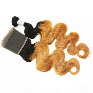 Ombre Human Hair Bundles with 13x4 Frontal Body Wave 100% Virgin Human Hair Wefts with Ear to Ear Closure Color T27 10-28 inch