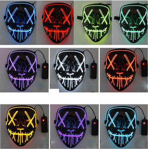 10style EL Wire Mask Skull Ghost Face Masks Flash Glowing Halloween Cosplay Led Mask Party Masquerade Masks Grimace Designer Masks GGA3757