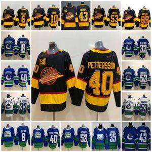 2021 Nuovo Vancouver Canucks Hockey su ghiaccio 40 Elias Pettersson 6 Brock Boeser Uomini maglie 53 Bo Horvat 33 Sedin 35 Thatcher Demko 43 Quinn Hughes
