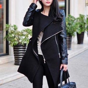 Женщины пальто зима верхняя одежда стройное длинное пальто зима теплый поворот воротник женская застежка на молнии кожаная лоскутная длинная куртка F8071