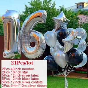 Joyeux anniversaire 16 Décorations Garçon Fille Foil Ballon numéro 16 Year Old Birthday Party Decoration Golden Kids Bday Fournitures S6xn qylSze