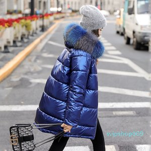 Ladies Winter Long Coat Jacket Shiny Hooded Thick Fur Collar Puffer Jacket Casual Leather Coat