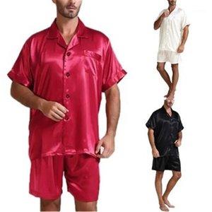 Pantalones cortos 2 unids Conjuntos Pajamas Spring Male Hombre Pijamas Pijamas Traje Hombres Color Sólido Casual Ropa de dormir Moda Tendencia de la moda Cardigan Tops de solapa