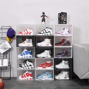 Kalınlaşmak Temizle Plastik Spor Çizmeler Ayakkabı Toz Geçirmez Saklama Kutuları Şeffaf Sneaker İstiflenebilir Boot Organizatör Yurtiçi Kutu Sergi Dolabı