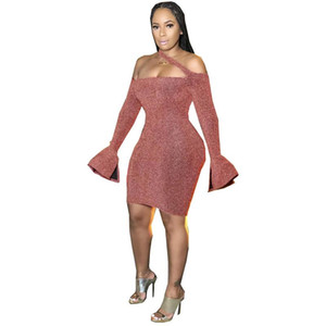 Sexy Womens Bydcon Dresses Casual Slash Neck Halter Designer Womens Dresses Flared Sleeves Party Skinny Womens Clothing