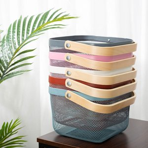 Wire food storage basket with bamboo handle for cupboards pantry - fruit storage