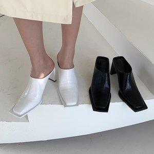 Femmes élégantes talons hauts glissades pantoufles de chaises d'été blanches Snake imprimé style sandales de style romain casual mulets de chaussures taille 39