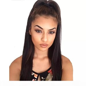 Pizzo di Yaki anteriore parrucche per afroamericano Glueless lungo Black Light Yaki capelli brasiliani del Virgin parrucca piena del merletto di alta Coda di cavallo