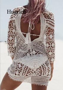 2020 Hot Swimwear Cover Up Women White Lace Tunic Beach Dress Clothing Backless Bathing Suit Crochet Bikini Swimming Beach Wear