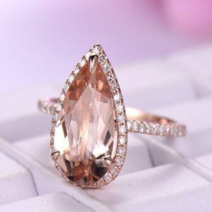 Boutique New Greats Gocce Gems Delle Donne Anelli Alto Rame Rosa Gold Diamond Anelli Gioielli di moda all'ingrosso