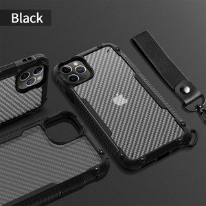 Carbon Fiber Design Transparent Clear Case For iPhone 12 Pro Max 11 Pro XS Max XR X 8 7 6 Plus with Lanyard