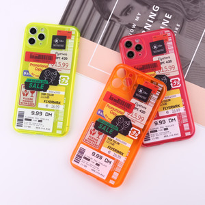 Fluorescent stamp label barcode Phone Case For iPhone 12 11 Pro MAX X XR XS MAX se 2020 Cover Cute Transparent soft cases