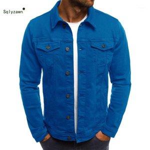 Vestes pour hommes Spring Automne à manches longues à manches longues Denim Varsity Jacket Mode Mode Black Blue Pocket Bombard Chemise Streetwear Coat PLUS SI