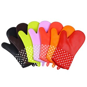 7 Colors Oven Gloves High Quality Silicone Microwave Oven Mitts Slip -Resistant Heat Resistant Gloves Kitchen Bakeware Tools