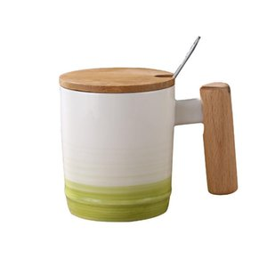 Japanese Style Wooden Handle Mug Mug With Lid And Spoon Office Afternoon Tea Ceramic Mug With Gradient Coffee Cup bbyewi bwkf