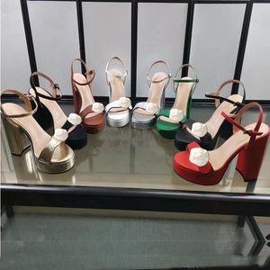 Sandalias de tacón alto clásico tacón de cuero grueso zapatos de mujer de cuero fiestas de hebilla de metal 10 cm tacones altos cinturones hebilla sexy dama sandalias tamaño 35-41-42