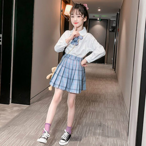 New Girls Autumn Outfits White Shirt & Plaid Pleated Skirt 2pcs Sets College Style Child Clothing Spring Teen Kids Girl Clothes Suit