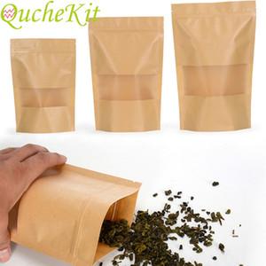 Transparent window kraft paper packaging bag \ \ 124; 10 pieces, candy gift bag, tea, walnut, snack, sealed food packaging bag, food packagi