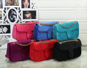 Big size 26CM 6 colors Hot Sale Women Shoulder Bags Classic Gold Chain Velvet Bag Heart Style Women Bag Handbag Tote Bags Messenger Handbags
