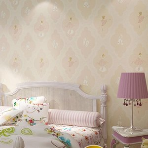 Environmental friendly lovely warm children's room wallpaper non woven fabric Ballet Girl Bedroom cartoon wallpaper W54