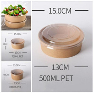 Pillar Shape Salad Bowl With Lid Clear Disposable Packing Boxes Food Storage Case Kraft Paper Fruits Vegetables Snacks Lunch 0 48jf G2