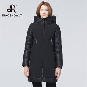 Jaqueta de inverno diaosnowly new inverno para mulheres casacos elegantes parka longa roupa quente mulher 201210