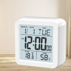Digital Digital Desktop LCD Snooze Calendar Clock White Bedroom Watch with Thermometer الرطوبة للبطارية المنزلية التي تعمل LJ201211