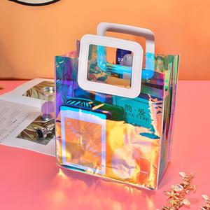 Laser Holo Ladies Handbags Femme Purse Sac Mini Transparent A Tote Hand Bag PVC Women Pochette Main 2021 Clear Female Beach Wrhpn