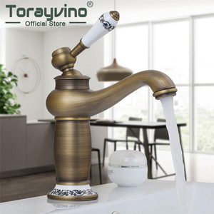 Torayvino Retro Style 360 Rotating Bathroom Faucet Deck Mounted Basin Sink Antique Brass Single Handle Faucet Mixer Water Tap