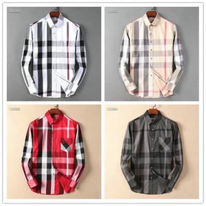 2020 marca negócio US fina camisa xadrez, marca designer de moda tamanho de manga comprida de algodão casuais camisa tarja camisa cooperativa S-4XL # 83